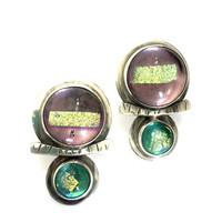 Barbara Sucherman Modernsit Sterling Silver Earrings, Dichroic Art Glass, Pierced Drop Earrings, Artisan Made, Signed, Vintage Gift for Her