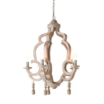 "Mango Wood Chandelier 25"" Round x 30"" H 6 lights"