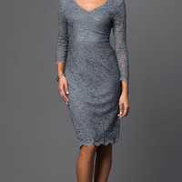Long-Sleeve Lace Dress, Knee-Length