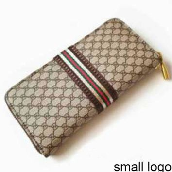 Women's Long Wallet Double G Letter Plaid Zip Clutch Khaki small G