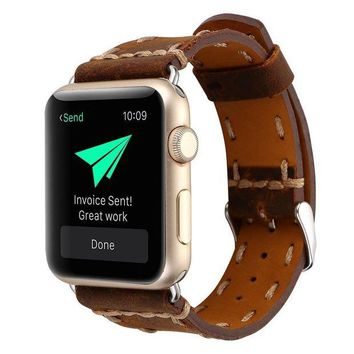 DCCKNY1 Kobwa 38MM/42MM Watch Band for Apple Watch Band West Cowboy Style Watchband Vintage Cowhide Strap Luxury Genuine Leather Single Tour Replacement for IWatch Series 1 Series 2 Series 3