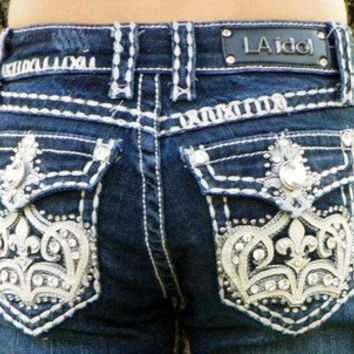 Miss LA Idol Girls Kids Denim Blue Jeans Capri's Crown, BLING Size 12 NWT