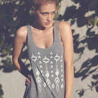 Ikat Love Ladies Tri Blend Tank Athletic Grey