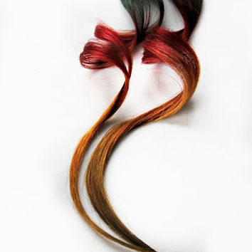 Hair Extension, Human hair extension, Spring Fashion green, red, yellow clip in hair, Easter Tie Dye Colored Hair - Sunset
