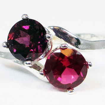 Rhodolite Garnet and Ruby Two Stone Ring, 925 Sterling Silver, July Birthstone Ring, Red Ruby Ring, Two Stone Ring, Mother's Ring