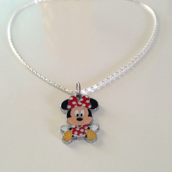 Minnie Mouse Necklace with Cute Red Gift Box