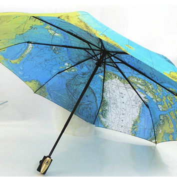 Fashion World Map Compact Auto Folding Umbrella