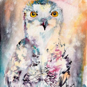 Snowy Owl Birds of Prey Original Watercolor and Ink