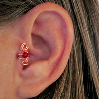 "No Piercing ""Crystal Up"" Ear Cuff for Upper Ear Tragus 1 Cuff - Copper with Dark Red or 17 Color Choices"