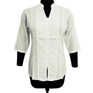 Cotton Kurta Boho Gypsy Top White Blouse Kurti  Summer Wear Embroidered Top Long Sleeves Tunic Indian Clothing Full Sleeves Top TOP2129