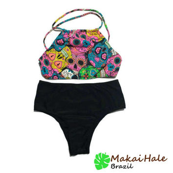 High Waisted Bikini - High Waisted Bathing Suit - Crop top Bikini -  Sugar Skull Bikini - Cross Back Bathing Suit