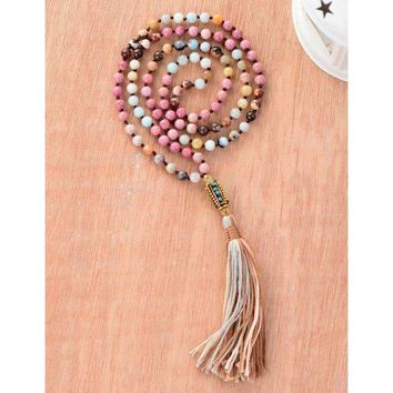 Natural Stone Nepal Bead Tassel Necklace