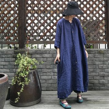 Johnature Women Double Linen Dress Vintage 2018 Spring New Seven Sleeve Robes Plus Size Women Clothes Loose Blue Dresses
