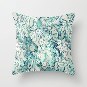 Fig Leaf Fancy - a pattern in teal and grey Throw Pillow by Micklyn