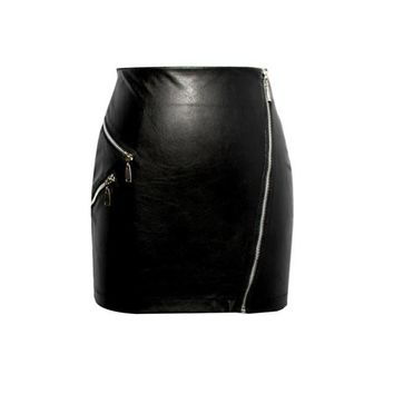 Leather Skirt Winter Women PU Leather Black Zipper Slim Hip High Waist Sexy Club Women Skirts Gonne Invernali Donne#A12