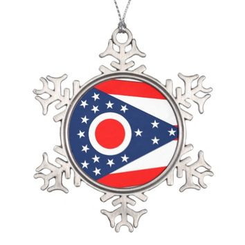 Snowflake Ornament with Ohio Flag