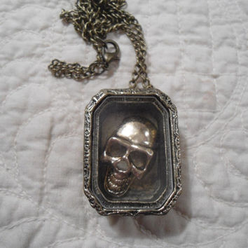 Brass Skull in a Shadow Box Coffin Long Statement Necklace hippie boho steampunk goth gothic rustic vampire day of the dead EGL OOAK Zombie
