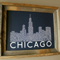 Chicago Skyline Word Art Print (Dark Blue)