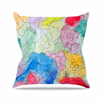 "Cathy Rodgers ""Spring Dreams"" Pink Yellow Outdoor Throw Pillow"