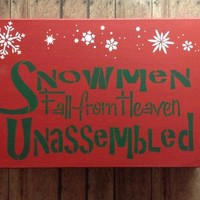 Winter Decoration Snowman Wood Block Art, Snowmen Fall From Heaven Unassembled Wall Decor, Holiday Or Christmas Rustic Country Wooden Sign,