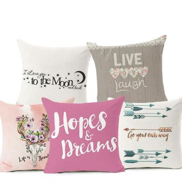 Quotes: Stay Simple Stay True, To The Moon, Hope & Dreams Decorative Throw Couch Sofa Cute Pillows Cover