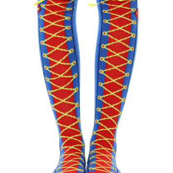 SUPERMAN LACE UP KNEE HIGH SOCKS