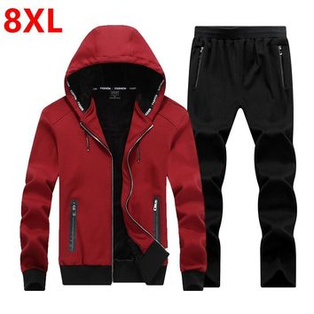Large size 2018 Fashion Winter Men Sporting Suit Hoodies Jacket+Pant Thick Sweatsuit Two Piece Set Tracksuit For Men Clothing