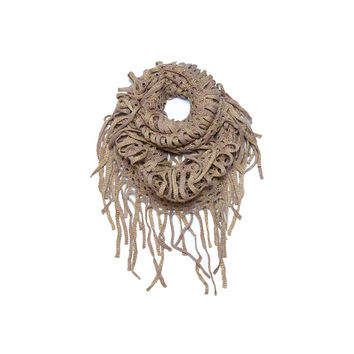 Tan & Gold Crochet Metallic Infinity Scarf
