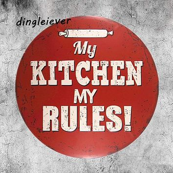 My kitchen my rules vintage metal sign