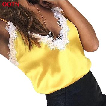 OOTN Lace Tops Women Female Sexy Golden Pink Black Tank Top Silk Camisole Evening Club Party 2018 Summer Camis Satin Crop Top