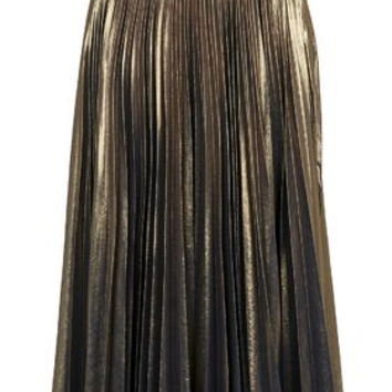 Metallic Pleated Midi Skirt - Gold