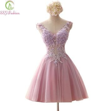 Rose Pink Fairy Short Evening Dresses Fairy V Neck Beading Crystal Embroidery Backless Ball Gown Organza Formal Dress