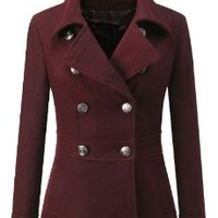 Doublju Double Breasted Pea Coat Jacket BURGUNDY (US-L), Burgundy, Small