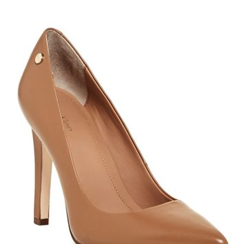 Calvin Klein | Brady Leather Pointed Toe Pump - Wide Width Available | Nordstrom Rack