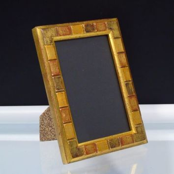 Contemporary Photo Frame Tiled Gold Wood 4 x 6 Home Decor Holiday Gift