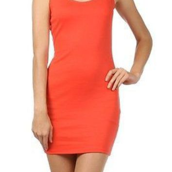 Bodycon Sleeveless Shift Pencil Stretch Tight Fitted Mini Dress