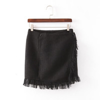 Black Fringed Button Skirt