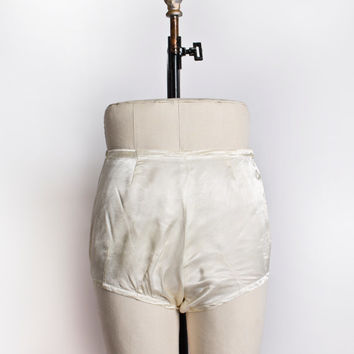 Vintage 1930s Tap Pants - Ivory Satin High Waisted Shorts Lingerie 30s - Extra Small XS