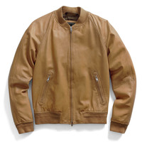 Varsity Leather Jacket in Light Brown