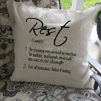 Rest throw pillow cover, 18x18