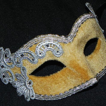 Masquerade Mask in Gold and Silver with Velvet and Lace Accents