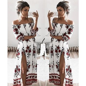 Maxi Dress Hot Sale Polyester Print Half 2017 Summer Hot Dress In The Sleeve Loose Digital Printing Word Shoulder Long Female - Beauty Ticks
