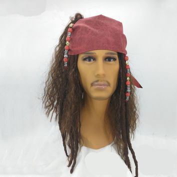 BOOCRE Movie Pirates Of The Caribbean Cosplay Jack Sparrow Headwear Wig Halloween Masquerade Accessories