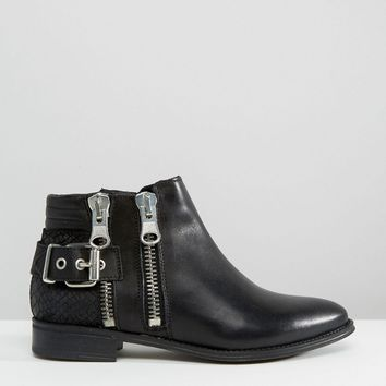ALDO Flat Zip Detail Leather Boots