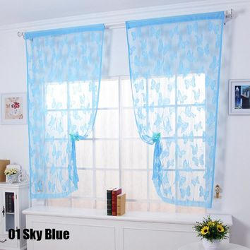 1Pc Simple Design Lovely Butterfly Line Curtains for Living Room Hotel Office Wedding Newly Curtain Cortinas Decoration#233789