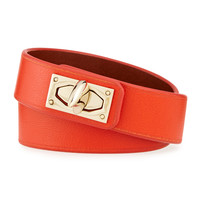 Calf Leather Shark-Lock Wrap Bracelet, Orange - Givenchy