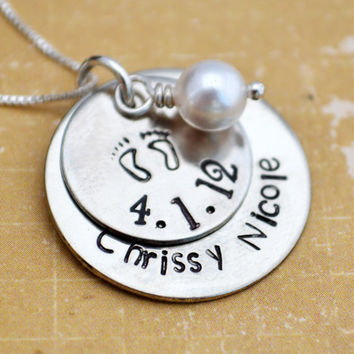 New Baby Necklace, Mother's Necklace, Personalized Jewelry, Custom, Mother's Jewelry, Mom Mommy, Gift for Her