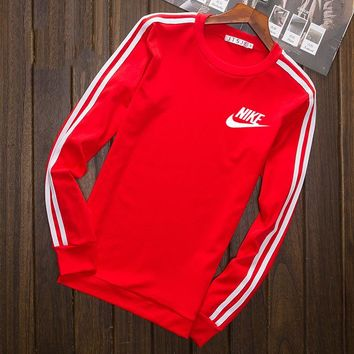 Nike Fashion Print Cotton Long Sleeve Sweater Pullover Sweatshirt Red G-YSSA-Z