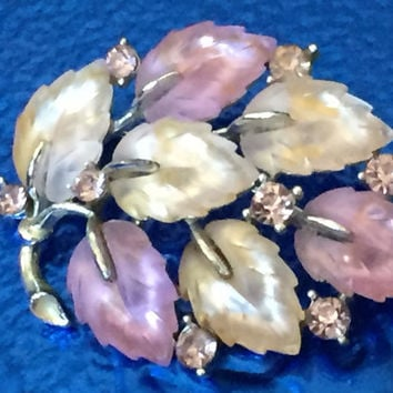 Vintage 1960's Lisner Signed Pink Pastel Leaves Brooch