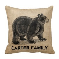 Bear Burlap Personalized